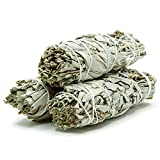 GloFX White Sage Bundle - 3 Pack - 4 Inches Sustainably Harvested California Smudge Stick Wand for Spiritual Incense...