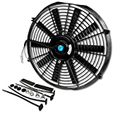 (Pack of 1) 14 Inch High Performance 12V Electric Slim Radiator Cooling Fan w/Mounting Kit - Black