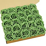 N&T NIETING Artificial Flowers, 25pcs Army Green Fake Flowers with Stem for Cake Decoration DIY, Wedding, Party Decoration, Valentines Day Gifts for Him Her Kids