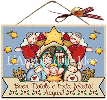 Placa con Cordel Madera 'Feliz Navidad y Mucha Felicidad felicitación' belén de ángeles Idea de Regalo, artesanía Italiana, Navidad, para Colgar Puerta, Fuera, Mesa Country, Placa con Cordel, Amor