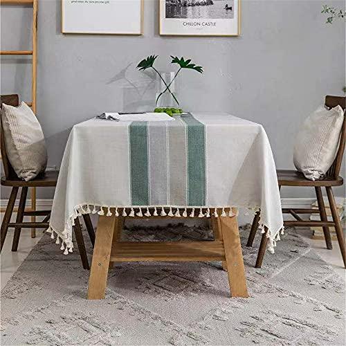 RHXJ Mantel nórdico de color sólido a rayas de imitación de algodón y lino borla geométrico encaje rectangular mesa mantel 2140 x 260 cm