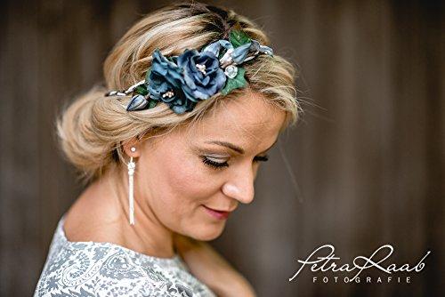 Brauthaarband Blumenkranz Blüten Diadem Braut Frisur Hochzeit Boho C1