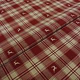 Hans-Textil-Shop Stoff Meterware Hirsch Streifen Karo Rot