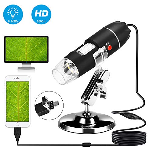 USB Digital Microscope 40X-1000X Handheld Mini Microscope Camera Compatible with Window 7 8 10 Android for Students Engineers Biology Lovers Microbiological Observation