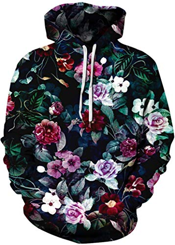 FLYCHEN Mens Hoodies Fashion Active Hoodies Pullover Printed Hooded Sweatshirt (Small/Medium, Blooming Flowers)
