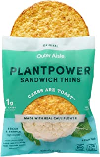 Outer Aisle Gourmet Cauliflower Sandwich Thins | Low Carb, Paleo Friendly, Keto | Original, 4 pack - 24 Thins