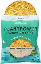Outer Aisle Gourmet Cauliflower Sandwich Thins | Low Carb, Paleo Friendly, Keto | Original, 4 pack - 24 Thins