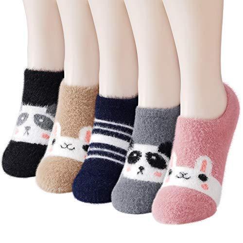 Slipper Socks for Women Anti-Slip 5 pairs Super Soft Warm Cozy with Cute Animal Low Cut Winter Fluffy Fuzzy Slipper Socks
