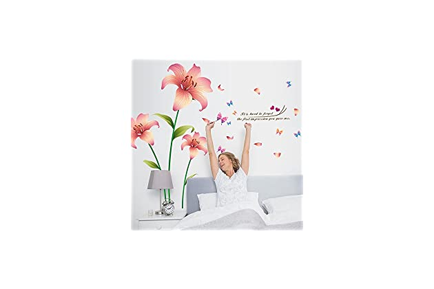 Analytical Romantic Blue Pink Lily Flowers Wall Stickers Mural Diy Living Room Bedroom Sofa Background Wall Removable Art Home Decoration Wall Stickers