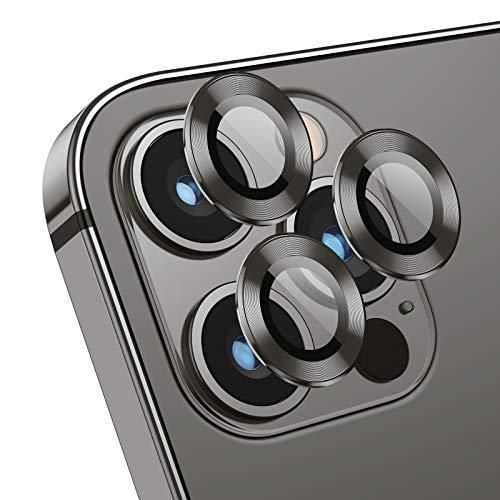 Deyooxi Protector Cámara para iPhone 12 Pro Max,(3 Pack) Vidrio Cristal Templado Cámara Lente Protector Pantalla para iPhone 12 Max,Grafito
