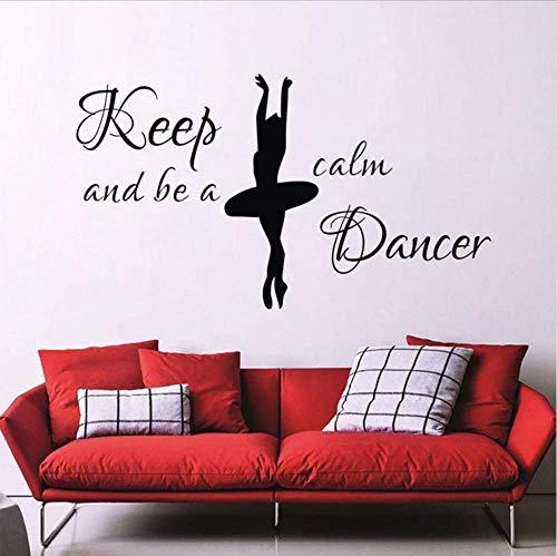 Mantenga la calma y sea un bailarín Pegatinas de pared para niñas Habitación Cabecera Decoración Bailarina Tatuajes de pared Vinilo 59 * 61Cm