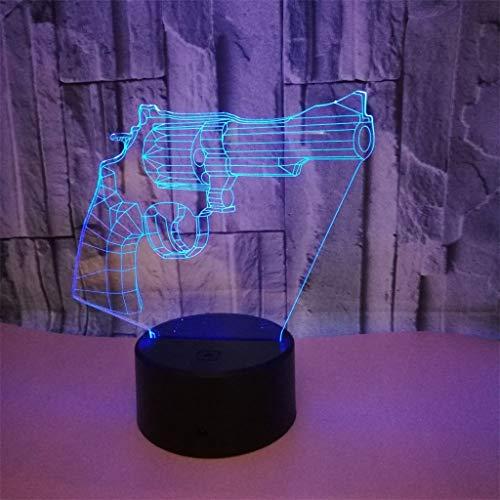 YLSE-night light Pistole Nachtlicht 3D Led Acryl Stereo Tischlampe Optische TäUschung Nachttischlampe Kind Schlafzimmer Dekoration Geschenk