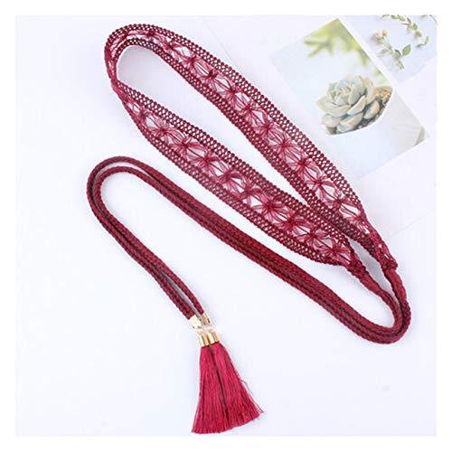 ZCPCS Cintura Dulce cordón Trenzado Cintura Hueca Cintura Cinturones de la Cadena de Las Mujeres Decoración de la Falda de la Falda de la Cintura de la Cintura Tassels Twist Weaged Knot Cuerda