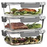 Superior Glass Meal Prep Containers - 3-pack (35oz) Newly Innovated Hinged BPA-free Locking