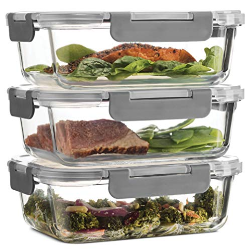 Superior Glass Food Storage Containers (Set of 3) Airtight BPA-Free Hinged Locking Lids - 100% Leakproof Glass Meal Prep Food Containers with Lids - Freezer to Oven Safe Takeaway Lunch Boxes - 1040ml
