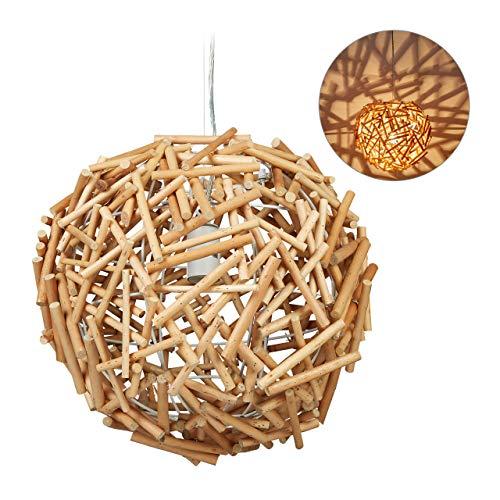 Preisvergleich Produktbild Relaxdays Hängelampe Holz,  Handarbeit,  Holzlampe,  Esszimmer,  Wohnzimmer,  E27 Treibholz Lampe,  HxD: 143 x 42 cm,  natur