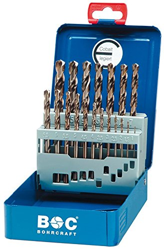 Industria foratura craft HSS-E DIN 338cobalto tipo N in BC punta elicoidale per trapano cassetta, 19pezzi, 1–10x 0,5mm in aumento/Me 10, 1pezzo, 11401310019