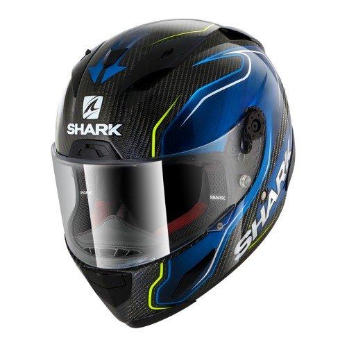 Shark Casco de moto RACE-R PRO CARBON GUINTOLI DBY, Negro/Azul, S