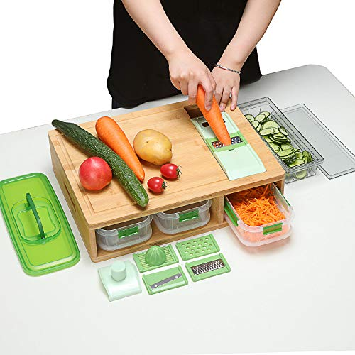 Bamboo Cutting Board With Containers And LOCKING LID. Includes Built-in GRATER. Extra Large Cutting Board Set With Trays For Easy Food Prep And Cleanup. Stackable Containers For Easy Storage