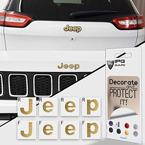 IPG for Jeep Compass MP 2017-2020 Front and Rear Emblem Overlay Decal Stickers - Emblem Do it Yourself Stickers Set Personalize Your Jeep (Metallic Gold)