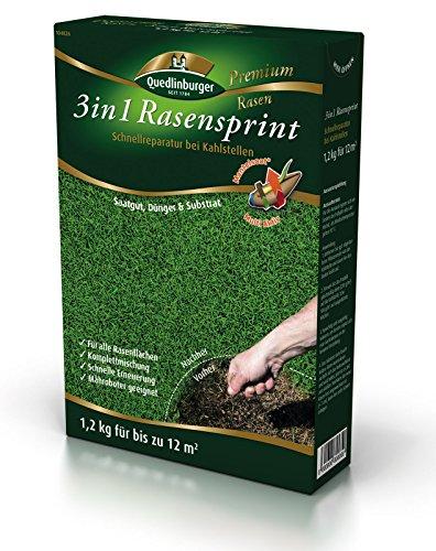 Quedlinburger 104826 Premium 3in1 Rasensprint Mantelsaat©, Rasen Lücken Reparatur, 1,2 kg für bis zu 12 m²