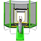 Merax 7' Trampoline with Slide and Ladder, Climb 'n Slide Kids Recreational Trampoline with Enclosure Net for Indoor/Outdoor (Green)