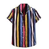 YSYOkow Camisa de lino para hombre de manga corta con estampado hawaiano con botones y flores para fiesta de playa