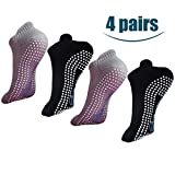 Non Slip Skid Socks with Grips for Yoga,Barre Pilates,PiYo,Men and Women,2 Pairs Black And 2 Pairs Grey