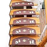 Selbstklebende Treppenmatten, Rutschfester Treppenteppich, Stufenmatten Aus Kunstleder, Halbrunde Haushaltsmatte, DREI Muster, 4 cm Rechtwinkliger Schutz, 60x23cm,Puppy-7PC
