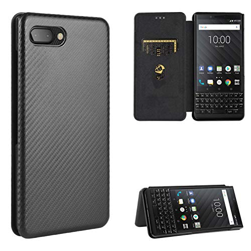 DAMONDY Compatible with BlackBerry Key2 Wallet Case,BlackBerry Key2 Case,Slim Premium PU Leather Carbon Patterned Flip Folio Case Card Slot TPU Shockproof Case for BlackBerry Key2 -Black