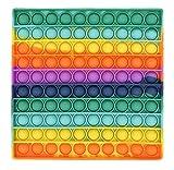 CRAZYCHIC - Pop It Fidget Toys - Popit Push Bubble Juguetes Niños Barato - Juegos Antiestres Hijos Adultos - Burbujas Multicolor Arco Iris Regalo Niño Niña - Cuadrado Grande