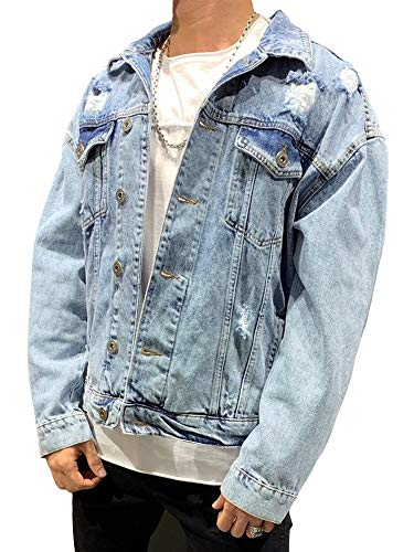 behype. Herren Destroyed Jeans-Jacke Denim 55-0190 (XL, Blau (0087))