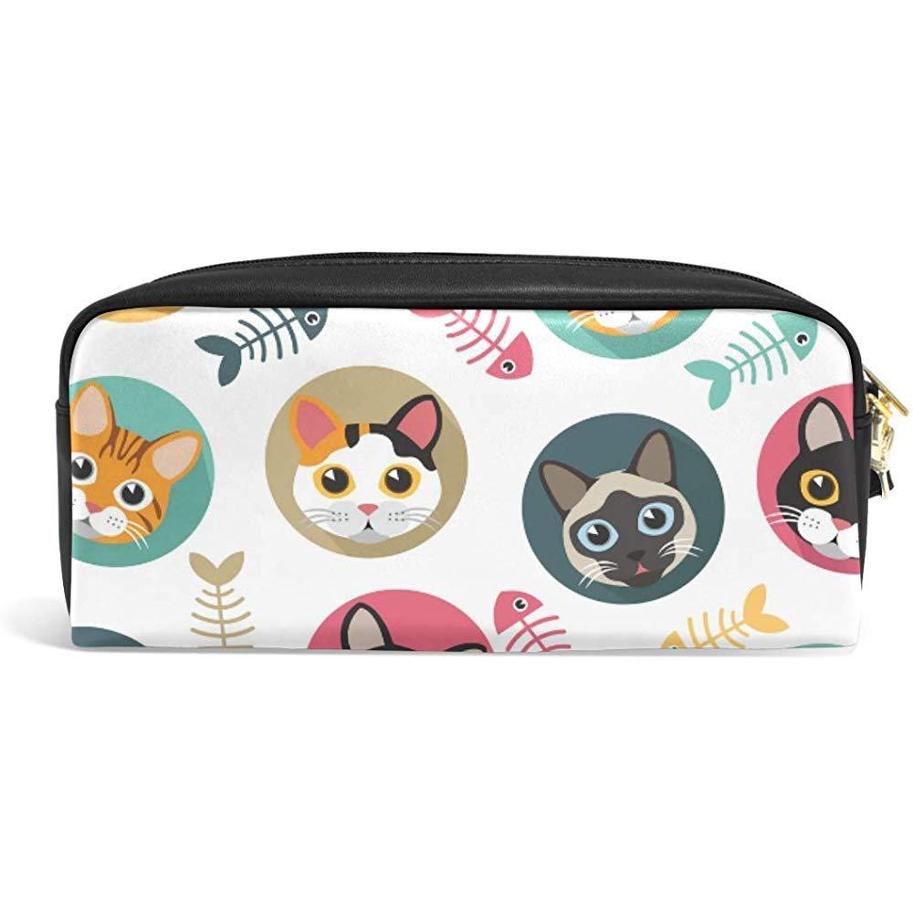 G.H.Y Lindo Estuche de lápices de Dibujos Animados Gato y pez de Hueso Organizador de Estuches Organizador de Cuero de PU Bolsa de Maquillaje: Amazon.es: Hogar