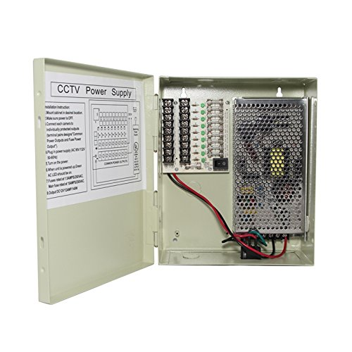 InstallerCCTV 9 Outputs 12 Amp 12V DC CCTV Distributed Power Supply Box for Security Camera, UL Listed