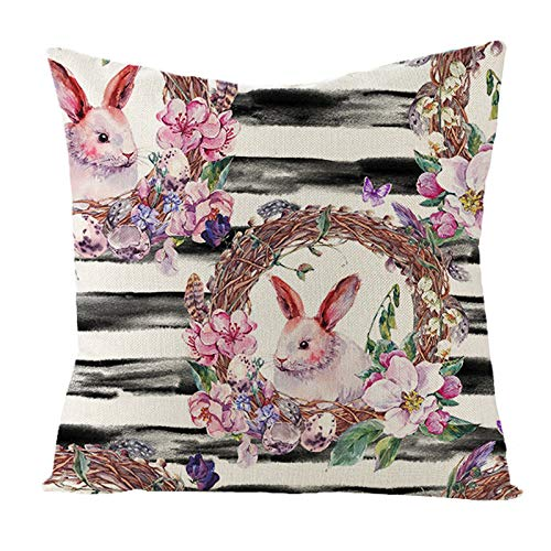 Celucke Easter Day Decorative Throw Pillow Covers, Rabbit Bunnies Pattern Cotton Linen Pillowcases for Sofa Couch Car Bedroom Chair Home Decor