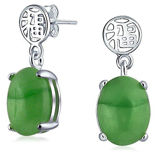 Asiatischen Stil Gefärbt Grün Jade Chinesisches Glück Baumeln Ohrhänger Für Damen 925 Sterling Silber