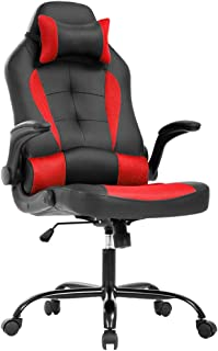 PC Gaming Chair Ergonomic Office Chair Desk Chair with Lumbar Suport Flip Up Arms Headrest Adjustable PU Leather Executive High Back Computer Chair for Women Men Adults,Red