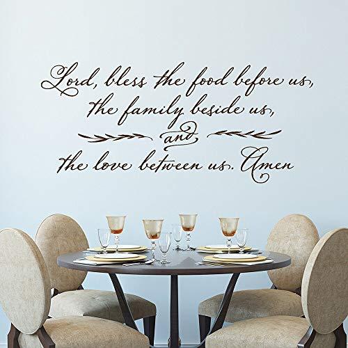 JXMN Calcomanías de Pared de Cocina Señor Bendiga la Comida Frente a Nosotros Pegatinas de Pared cristianas decoración de Restaurante de oración Papel Tapiz de Vinilo 116x52cm