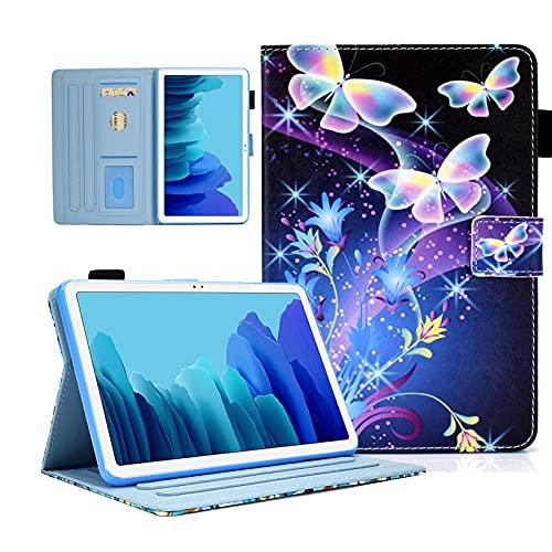 AUSMIX Funda para Galaxy Tab A7 10.4 pulgadas 2020, Folio Flip PU Cuero Funda Galaxy Tab A7 Ultra Slim TPU con Smart Stand Wallet Cover Tablet Galaxy Tab A7 SM-T500/T505/T507, Mariposa