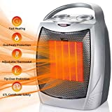 750W/1500W Ceramic Space Heater Portable Electric Heater with Overheats & Tip-Over Protection,...