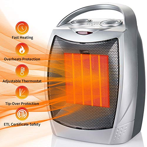 750W/1500W Ceramic Space Heater Portable Electric Heater with Overheats & Tip-Over Protection, Desktop Room Heater with Adjustable Thermostat for Office Indoor Home, Silver