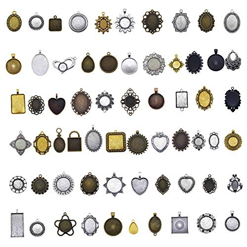 Julie Wang Antiqued Bronze Silver Setting Bezel Tray Pendant Blanks -No Duplicates (60 Bezels Only)