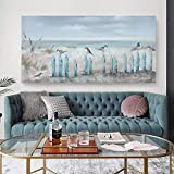 Big Wall Art for Living Room Extra Large Hand-painted Beach Oil Painting Ocean Sea Bird Seagull Canvas Artwork Framed Seascape Coastal Picture for Office Bedroom Decor 60x30inch