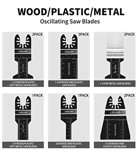81 Pack Oscillating Saw Blades LEILUO Oscillating Tool Blades to Cut Metal Wood Plastic Oscillating Multitool Blades Fit Dewalt Worx Rockwell Wen Milwaukee Makita Ryobi Bosch Fein Porter Genesis Black
