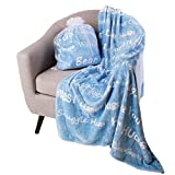 BlankieGram Hugs Throw Blanket Gift for Friends and Family with Inspirational Messages for Positive Energy, Compassion, and Serenity (Blue)
