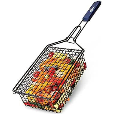 Corona BBQ Charcoal Grill Accessories - Grilling Basket with Locking Grill Handle For Veggetables, Chicken, Meats And Fish for Outdoor/ Indoor BBQ Set Tools