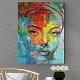 ganlanshu Arte de la Pared Lienzo Pintura Moderna decoración del hogar Color Personaje Mural decoración de la Sala de Estar,Pintura sin Marco,50X75cm