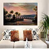 Sunset Beach Coconut Tree Seascape Bridge Abstract Oil Painting on Canvas Wall Picture for Living Room A 60x90cm