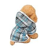 Macks.i(マックス・アイ) 犬用 レインコート ドッグウェア 犬服 犬 猫 防水 着脱簡単 チェック柄 マジックテープ MIDR-01 (S, ライトブルー)