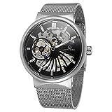 mastopメンズユニークなスケルトン腕時計Mechanicalステンレススチールメッシュバンド防水発光手首腕時計 Silver&Black